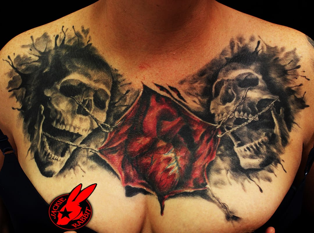 Chest Skull Tattoo by Jackie Rabbit