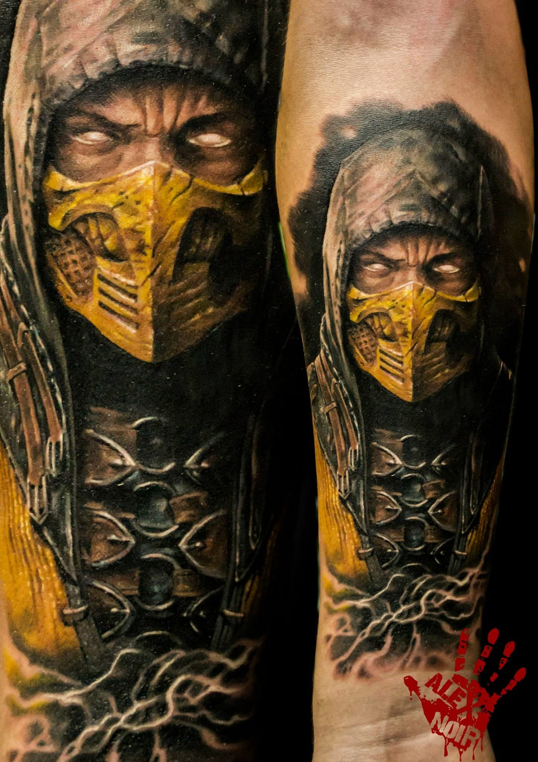 Scorpion is perhaps the most recognized icon of the game and this realism tattoo kicks ass!