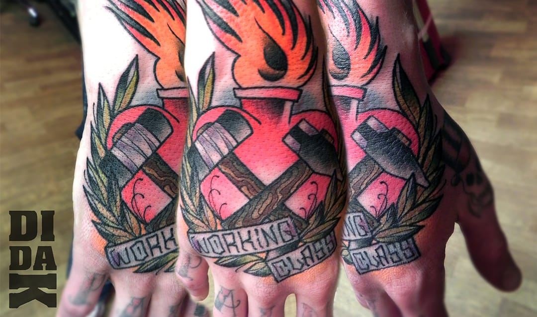 Bold Working Class Hand Tattoo by Didak