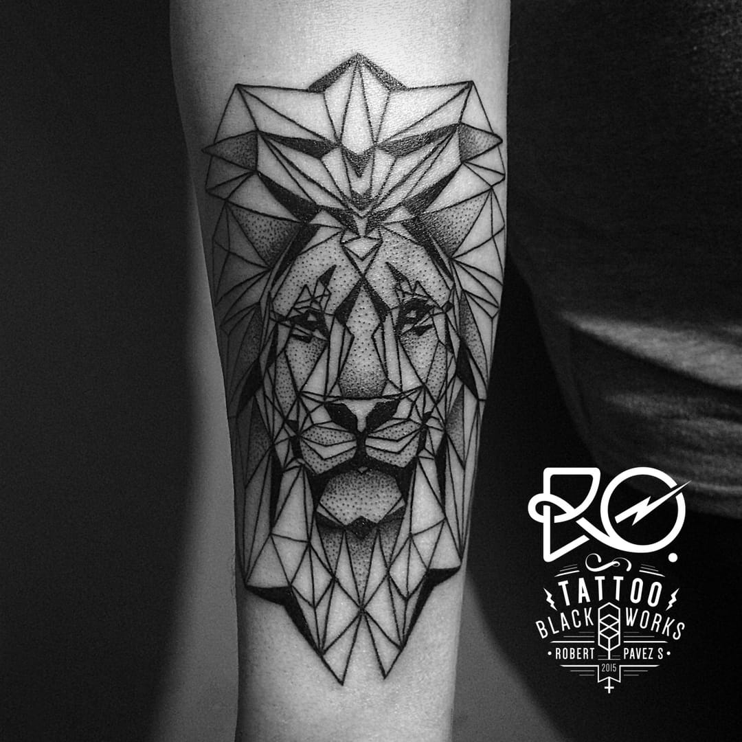 Geometric Lion Tattoo by Robert Pavez