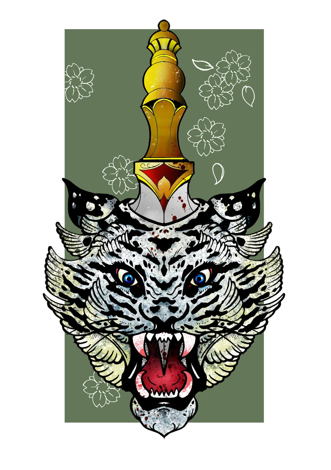 Dagger and tiger tattoo design by Shaun Williams.