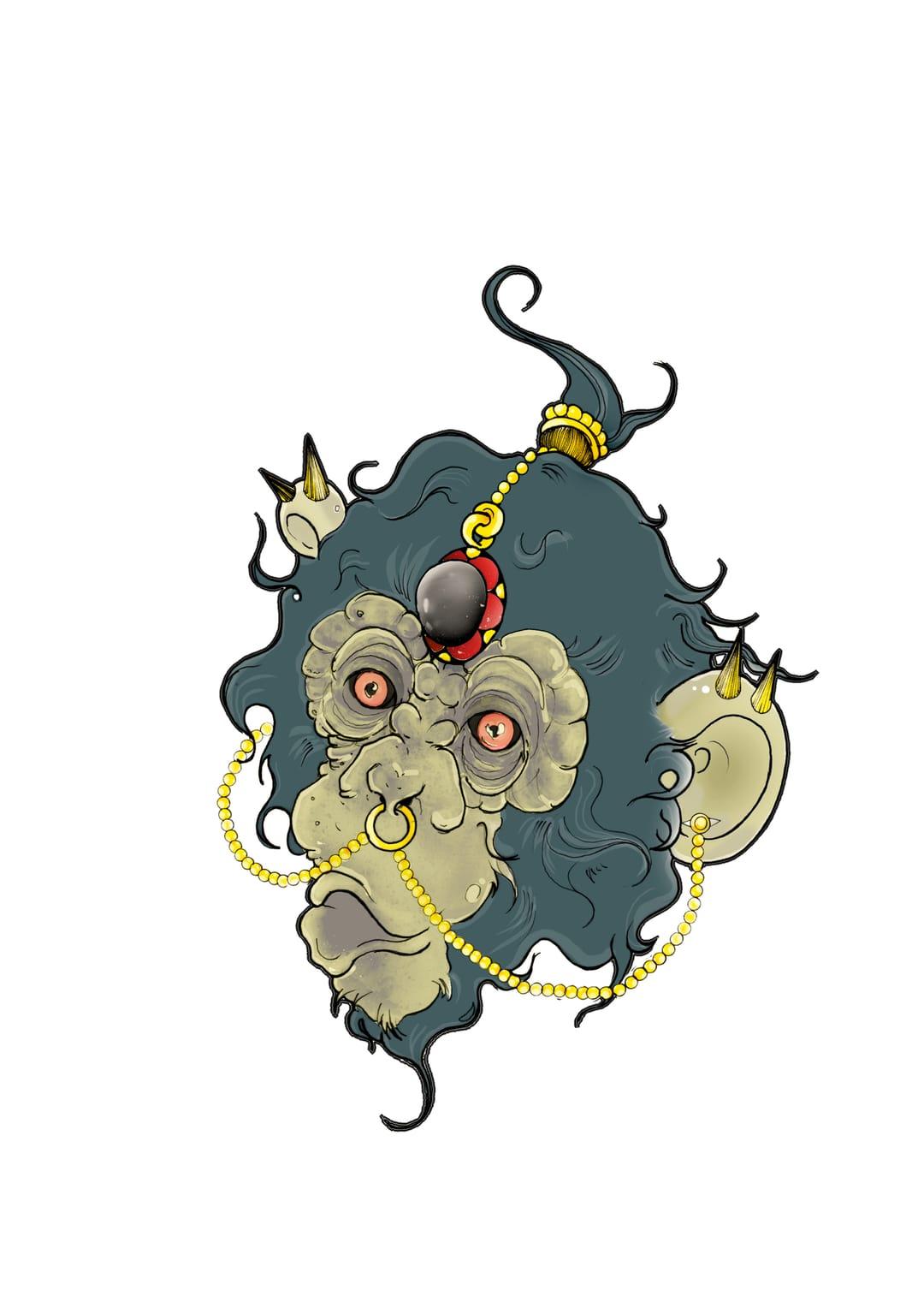 Monkey tattoo design by Shaun Williams.