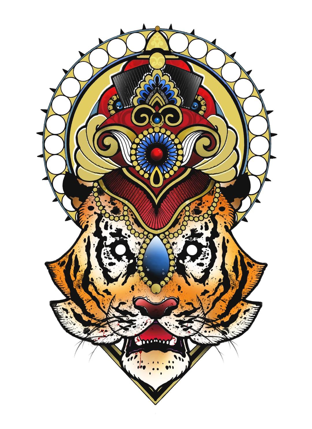 Tiger tattoo design by Shaun Williams.