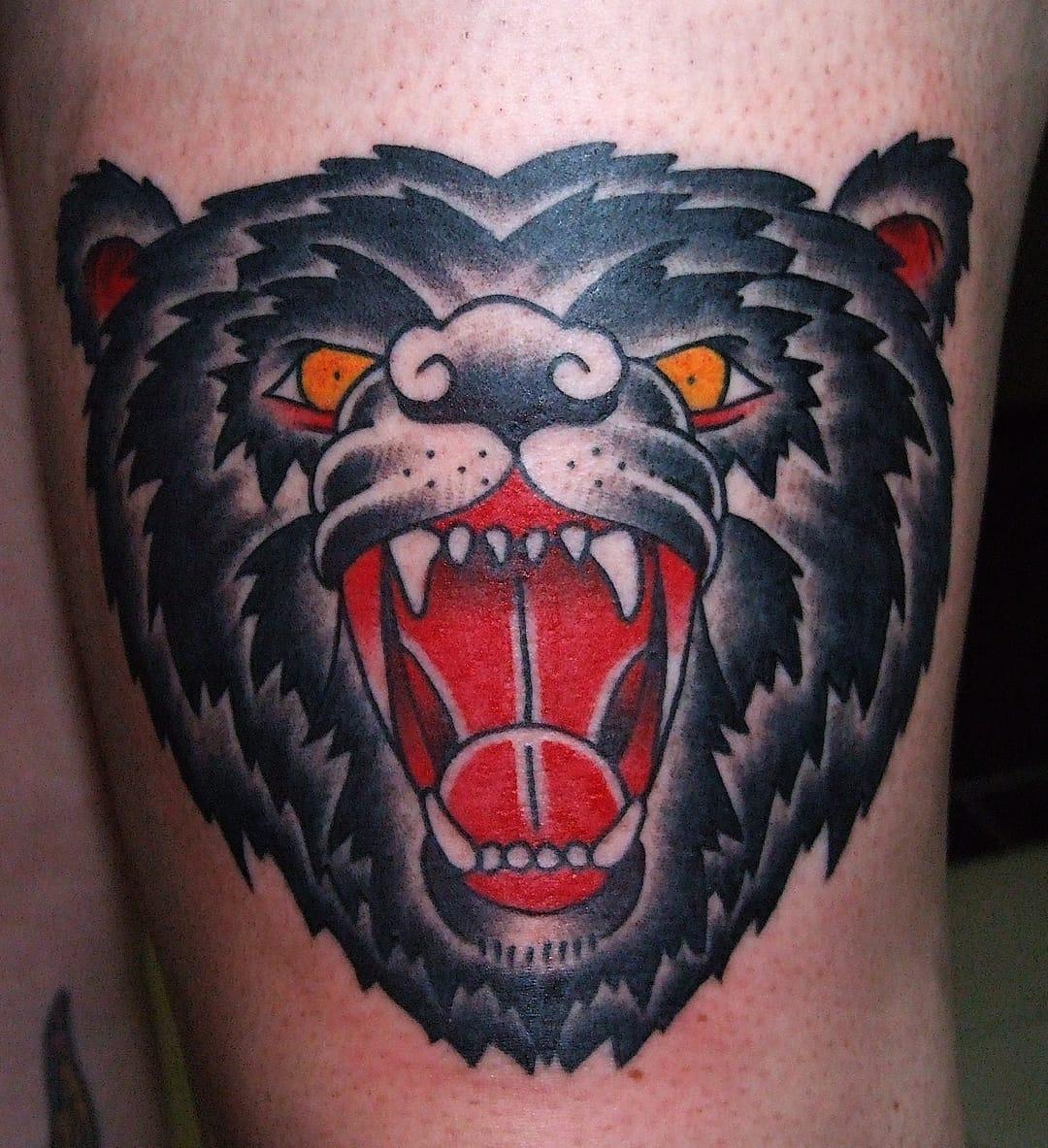 Bear head tattoo by Tom Burrey