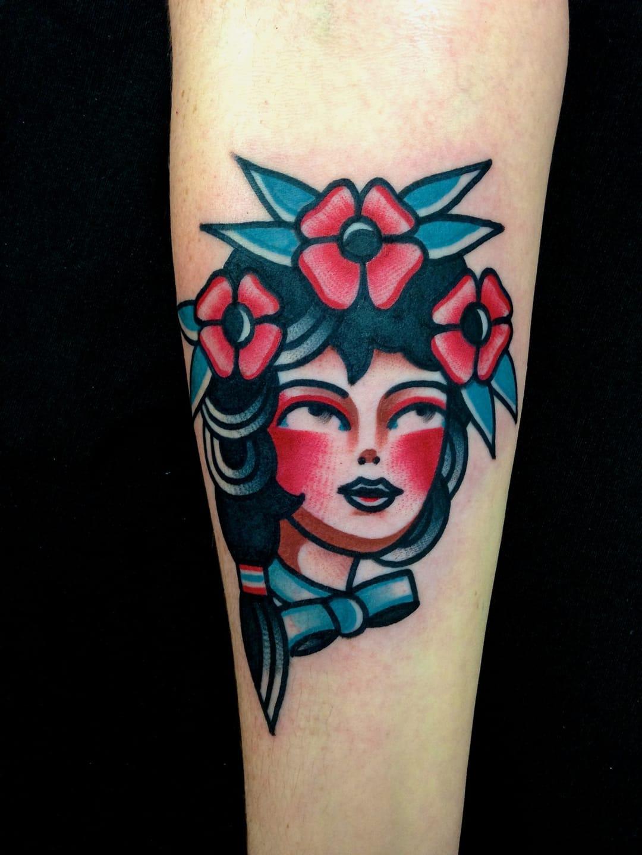 Girl head tattoo by Dani Queipo