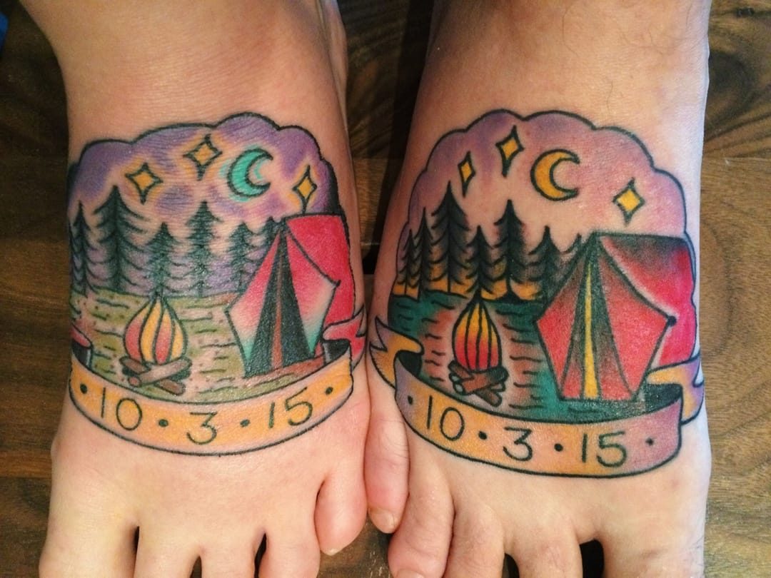 Perhaps it could be about the day you first met? Cool moonlit camping tattoo by Cori James & Miguel Olascuaga at Live Free Tattoo.