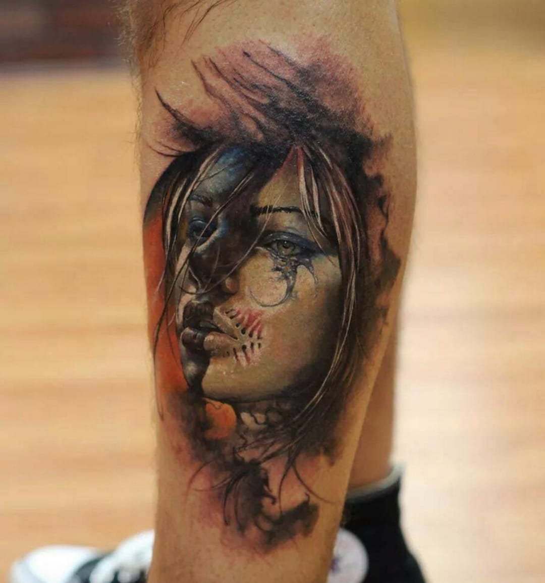 Scary portrait tattoo by Dmitry Vision, source: Facebook / Best European Tattoo Artist's