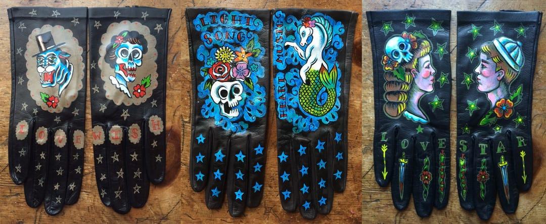 Hand-painted wearable gloves by Ellen Greene