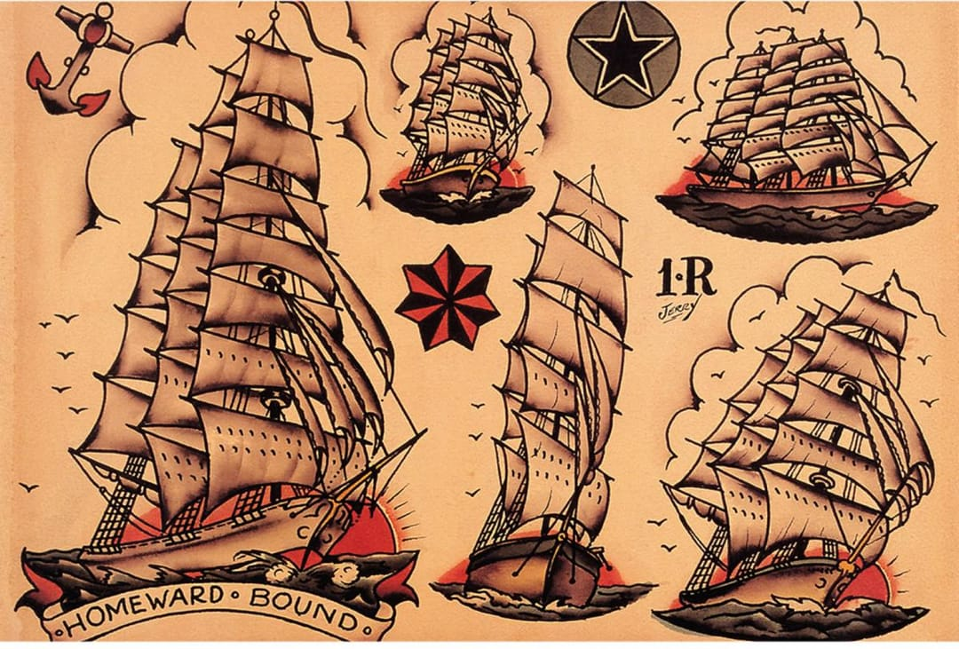 Classic Sailor Jerry Cilpper Ships are still tattooed this way.