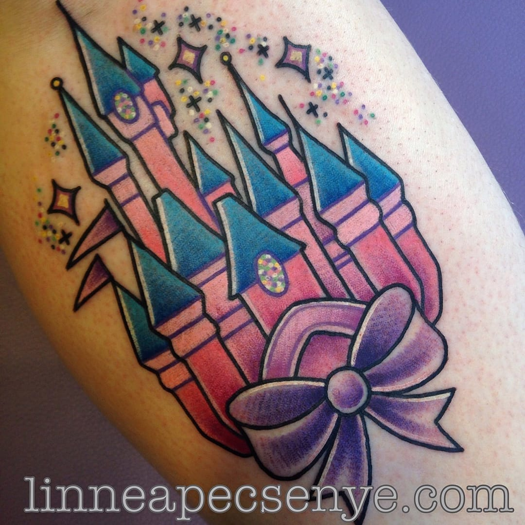Absolutely love the colors & sparkles of this Princess Castle tattoos by Linnea Pecsenye.