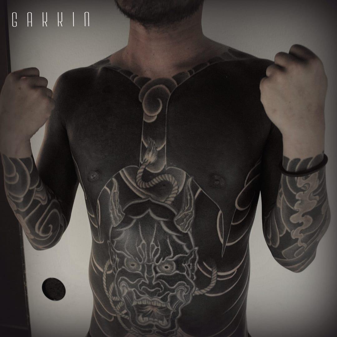 Hannya black suit tattoo by Gakkin