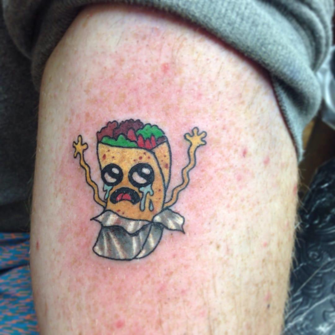 Funny little crying burrito tattoo!
