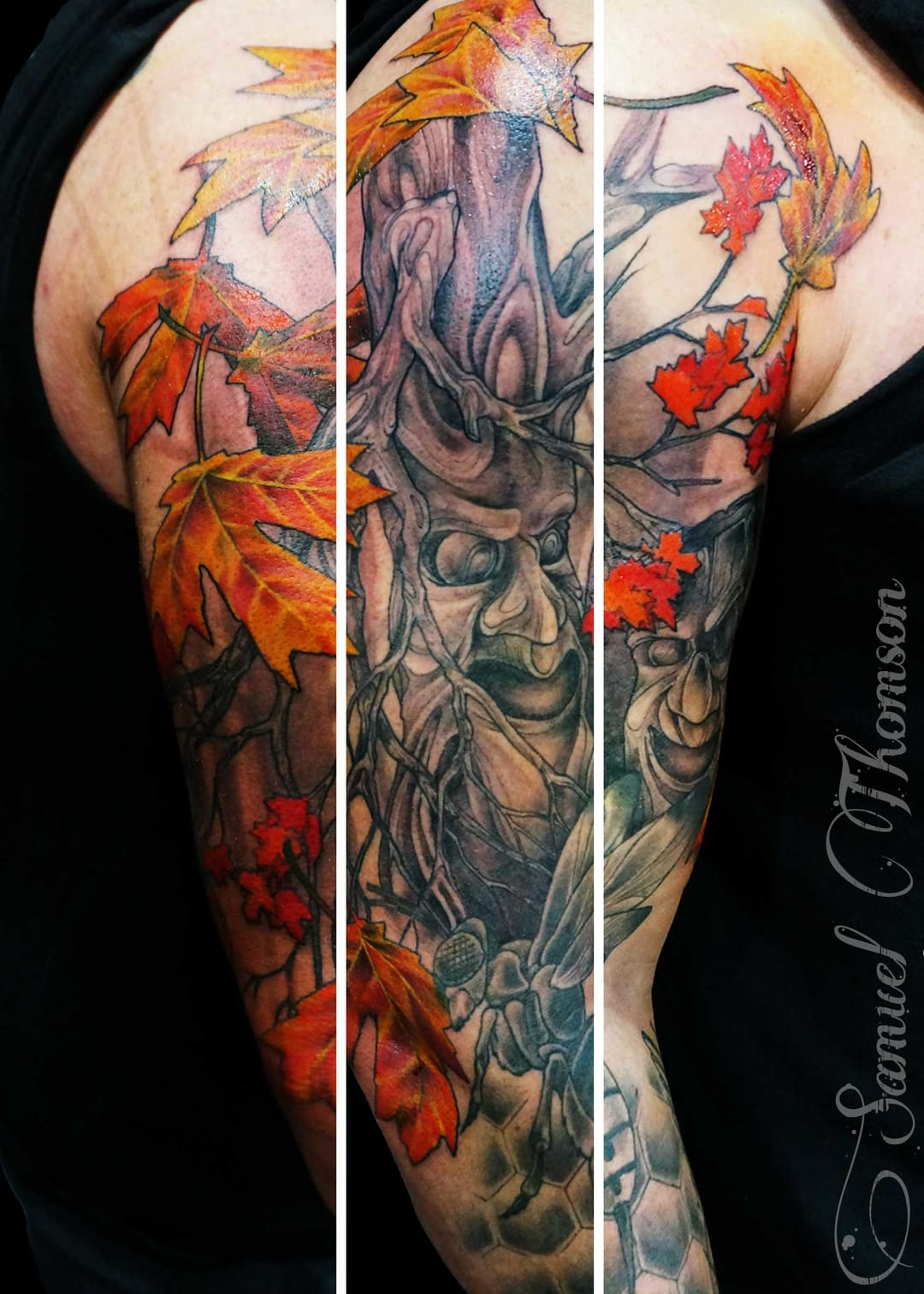 40 colorful fall tattoos tattoodo for Fall tree tattoo
