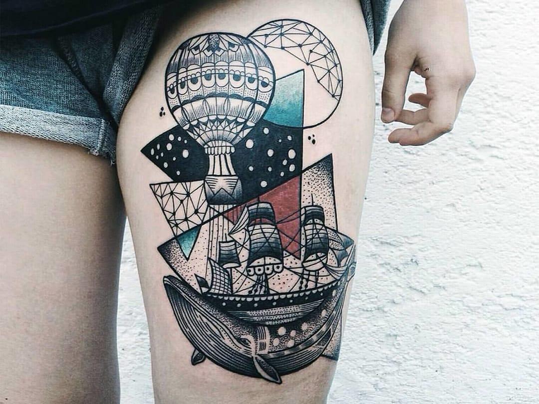 Thigh Tattoo by Jessica Kinzer