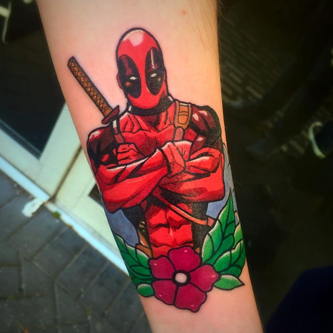 Deadpool tattoo by Stickypop.