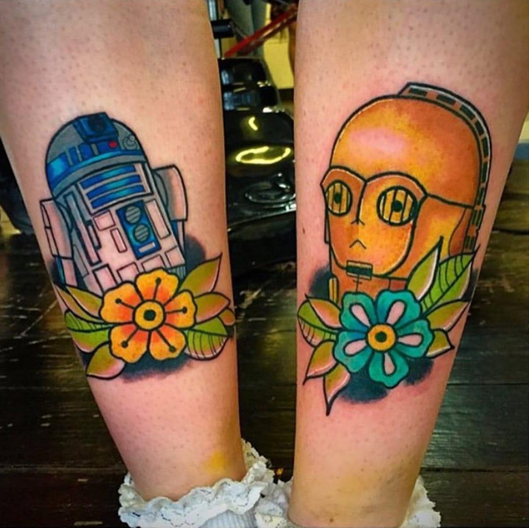 Matching Star Wars tattoos - R2-D2 and C-3PO, by Matt Daniels.