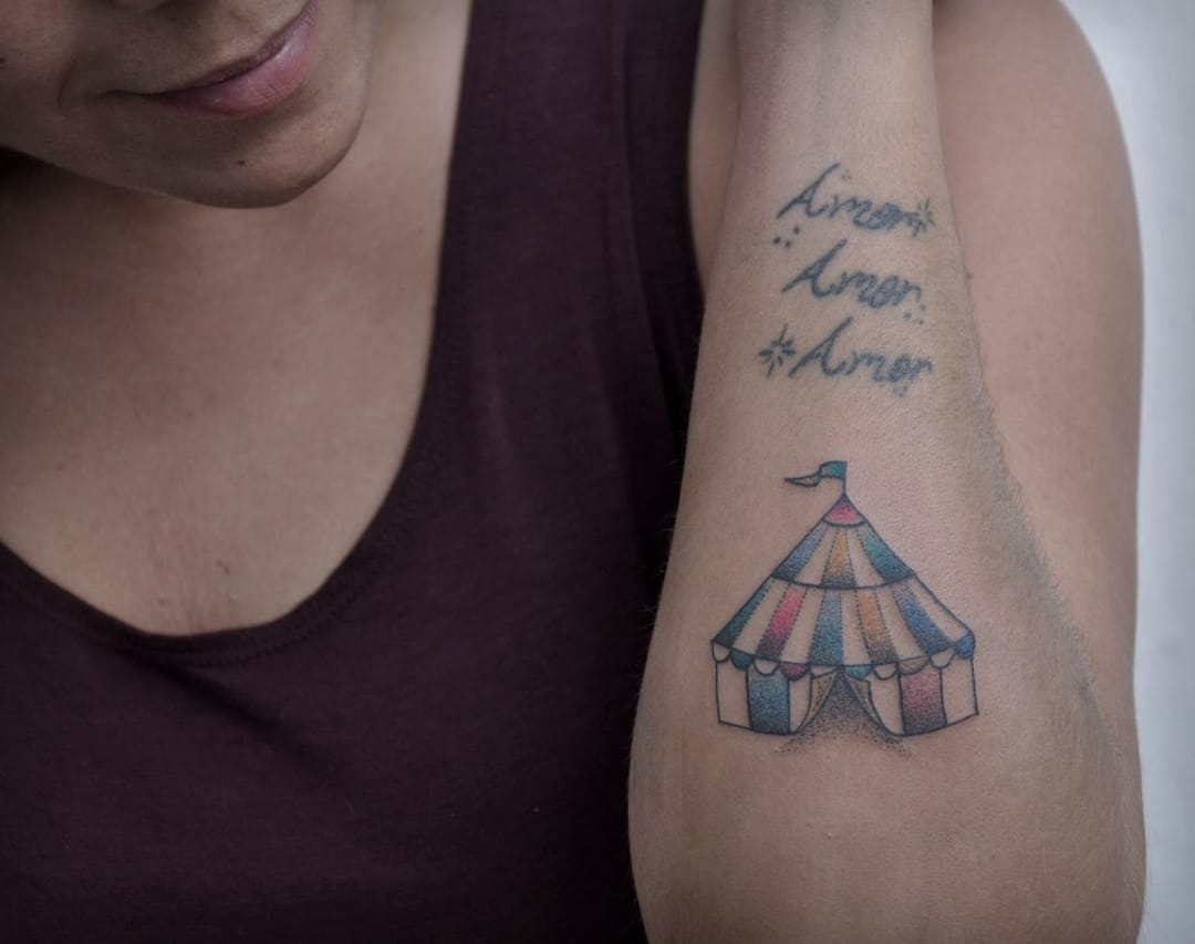 Cute little circus tent by Guilherme Hass from Brazil... nice little tattoo!
