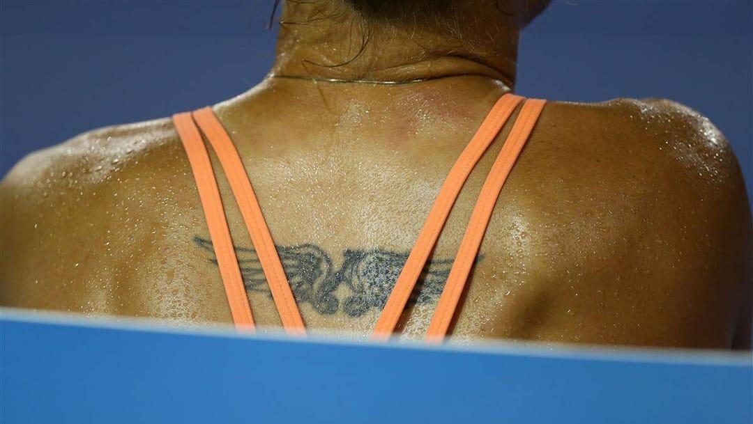 Ukrainian tennis player Kateryna Bondarenko's back wings! Photo by Ryan Pierse/Getty Images