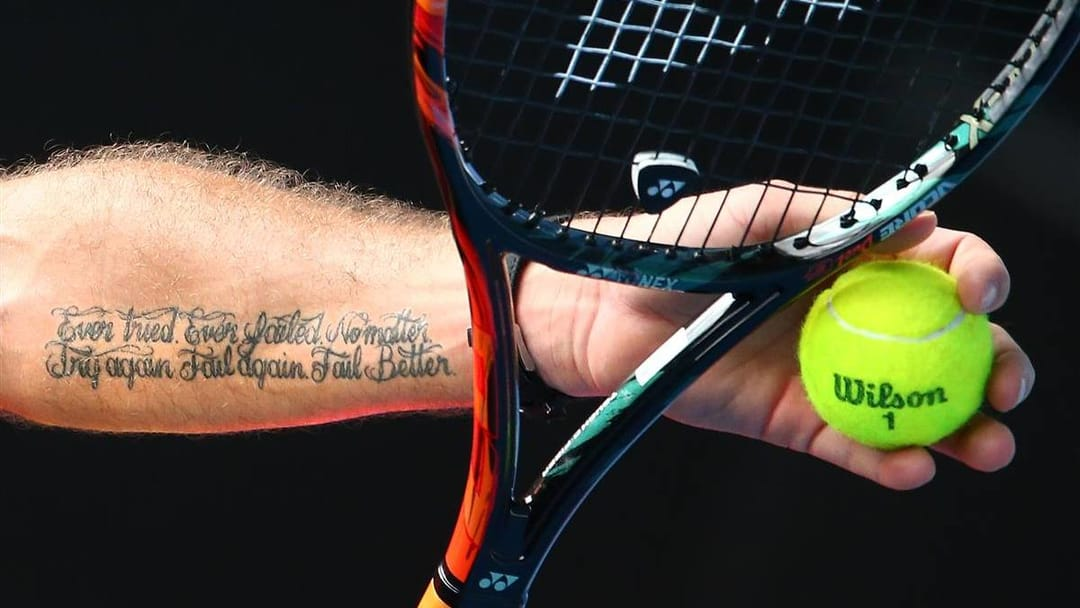 Stan Wawrinka the Swiss tennis player, motivational ink! photo by Scott Barbour/Getty Images