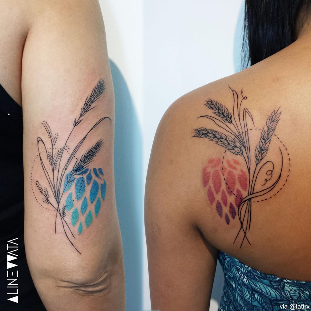 Two others by Aline Wata #AlineWata #ombrétattoos #matchingtattoos
