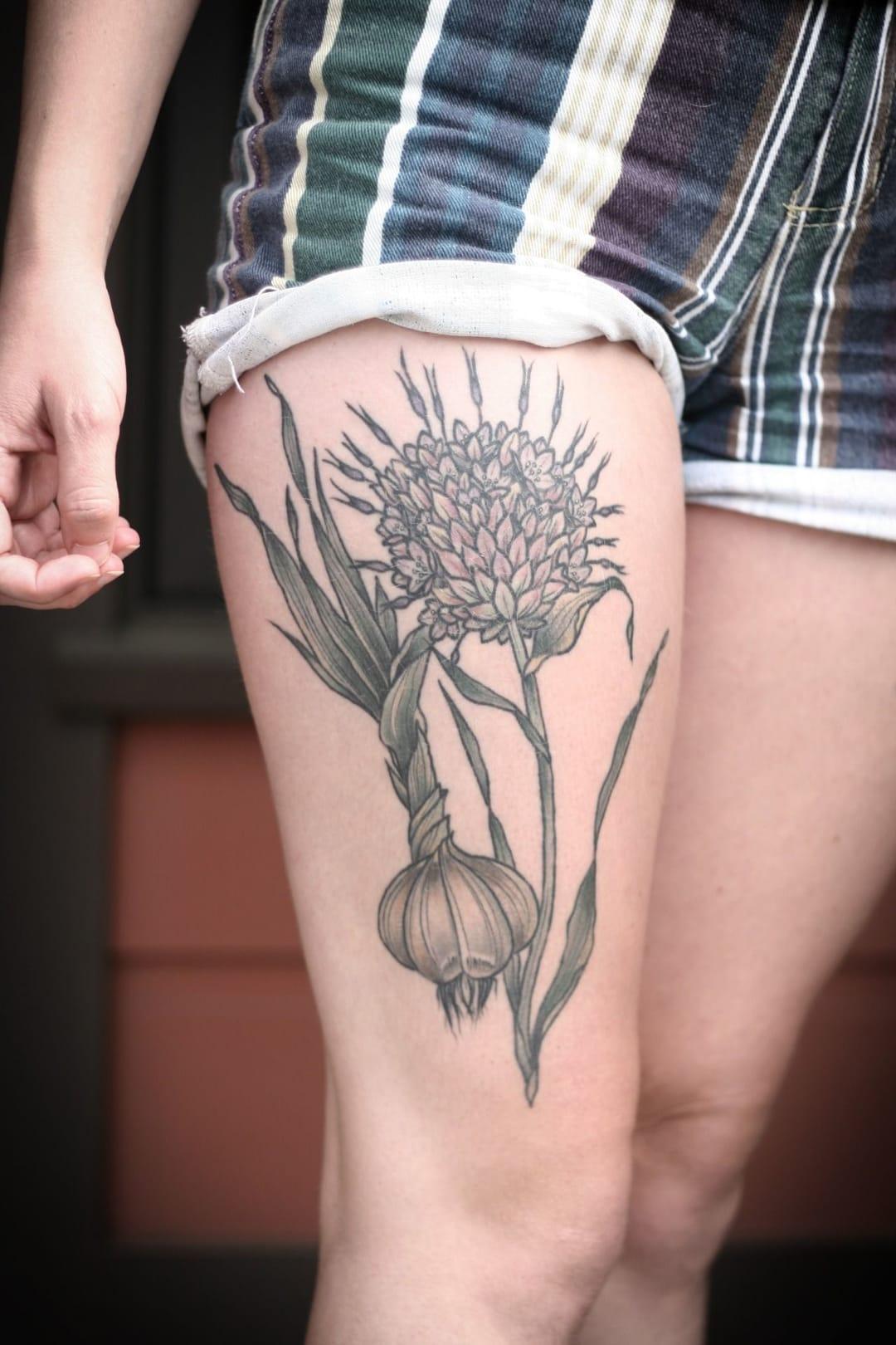 Shallot tattoo by Kirsten Holliday from Wonderland Tattoo, Portland, Oregon.
