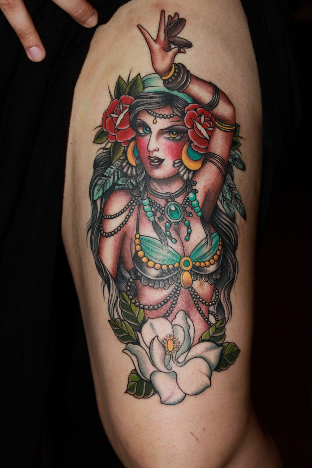 A cool neo traditional belly dancer by Valerie Vargas.