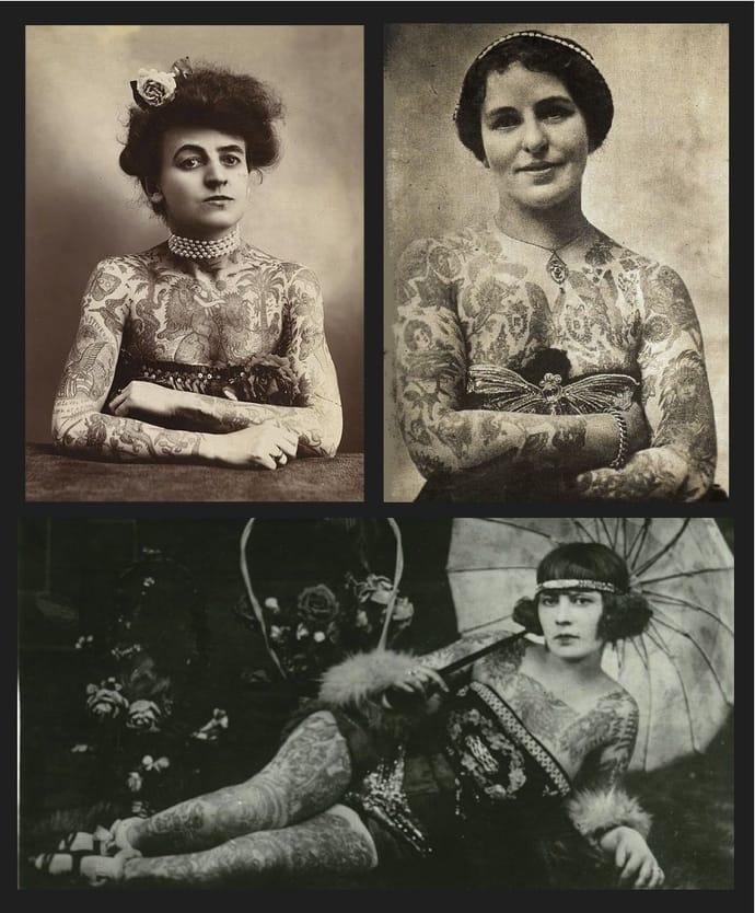Victorian tattooed circus ladies.